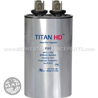POC12.5A Titan Hd 12.5Mfd 370V Oval Run Capacitor